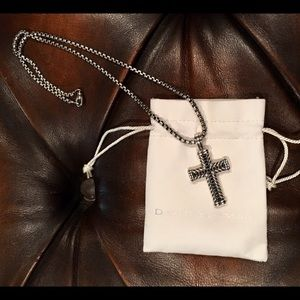 David Yurman Black Diamond Silver Cross Necklace